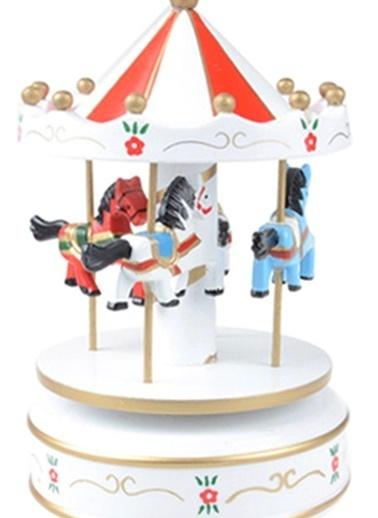 Nostaljik El Yapımı Atlıkarınca Müzik Kutusu Kırmızı Beyaz-Practika